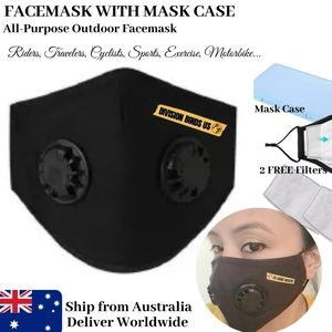 Dual Breathing Valve Black Facemask with Insert Pouch | 4-5 Layers Filter Pads